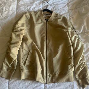 Tan Bomber Jacket Nylon Lining Size M